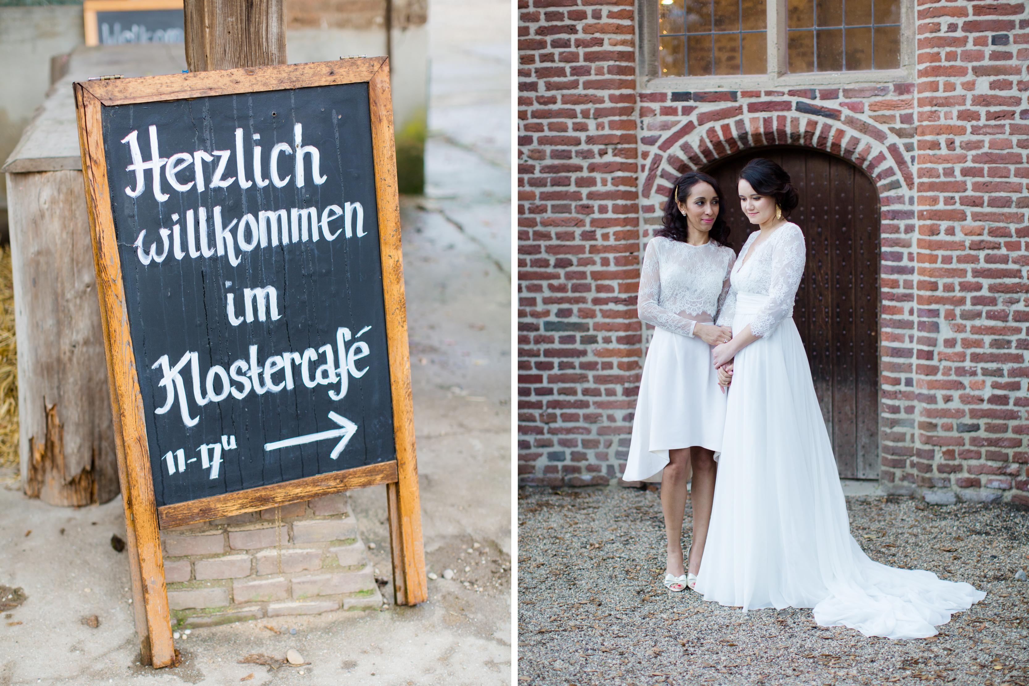 Kurzes und langes Hochzeitskleid