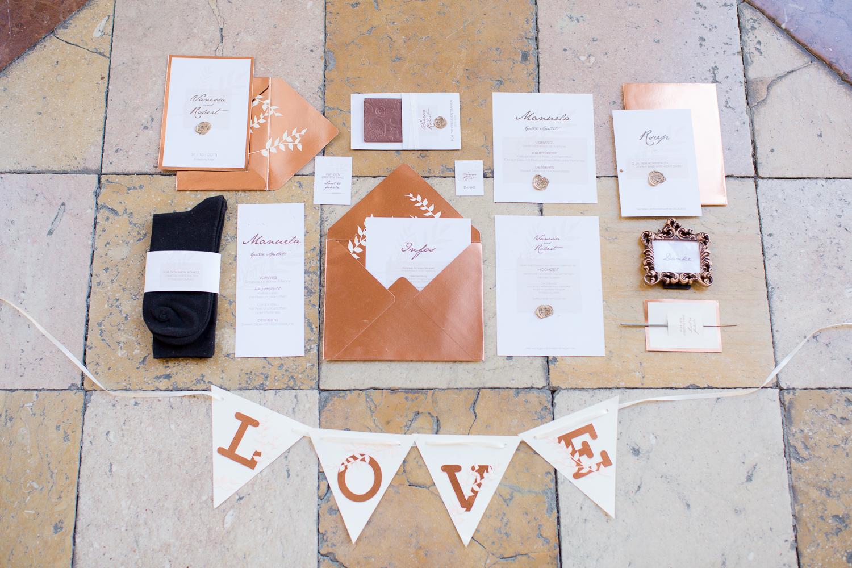 Hochzeitspapeterie in Kupfer
