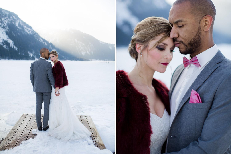 Hochzeitspaar im Winter am Haldensee
