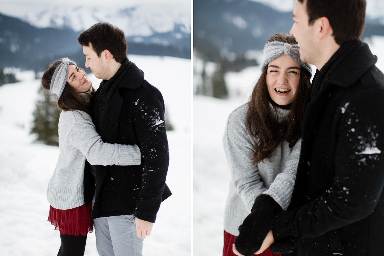 Couple Snow Shooting