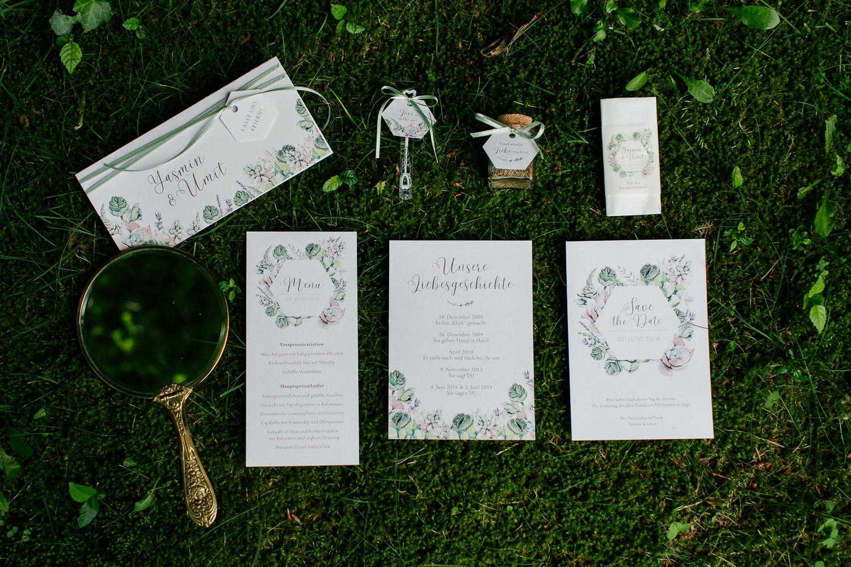 Papeterie für eine Greenery Hochzeit