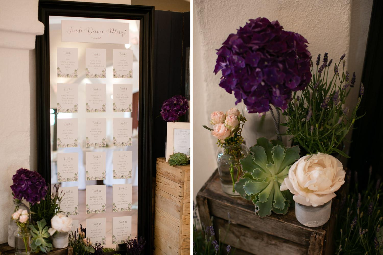 Sitzplan Hochzeit Greenery und Lavendel