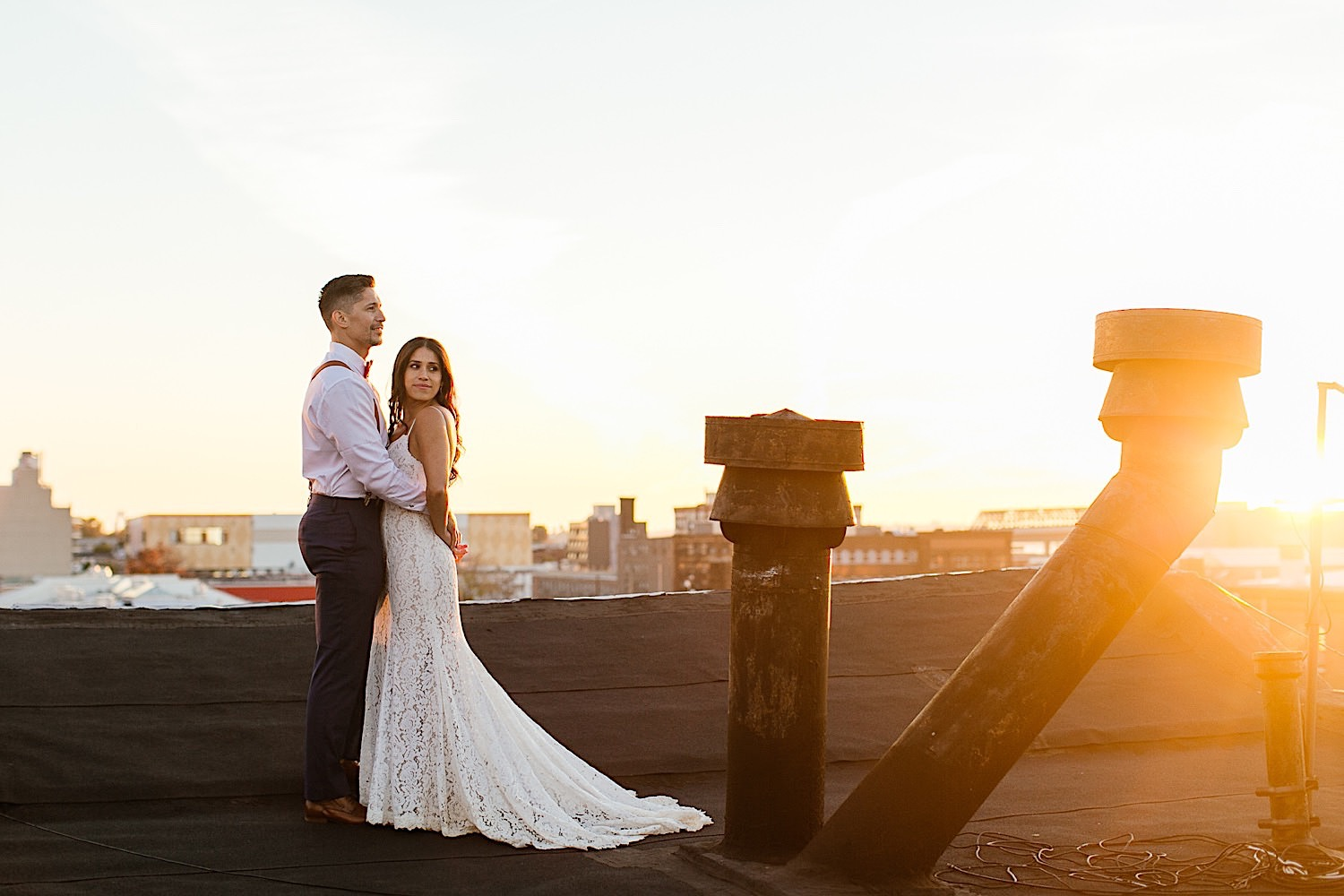 Sunset Rooftop After Wedding Shooting in New York