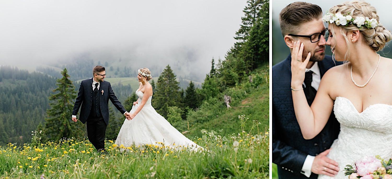 Almhochzeit Brautpaarshooting am Hochzeitstag Obsterstaufen