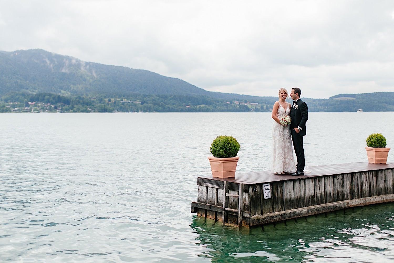 Fotoshooting am Tegernsee mit Brautpaar