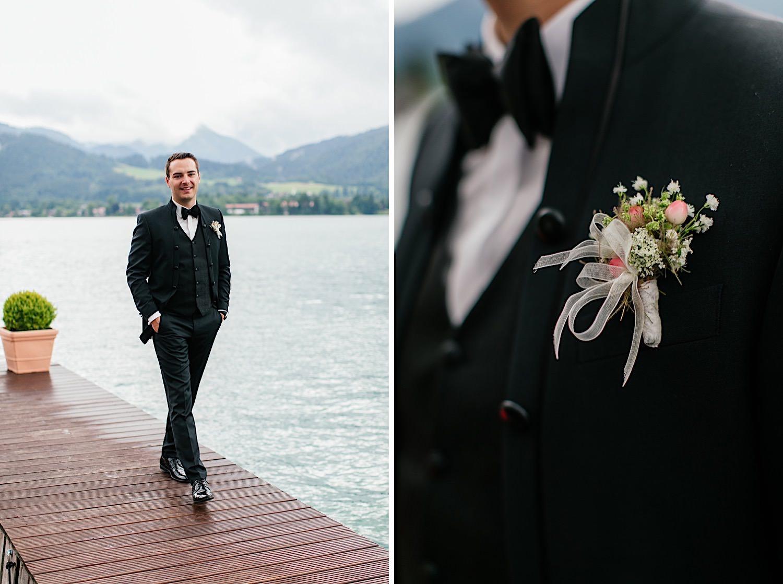 Fotoshooting mit bräutigam am Tegernsee
