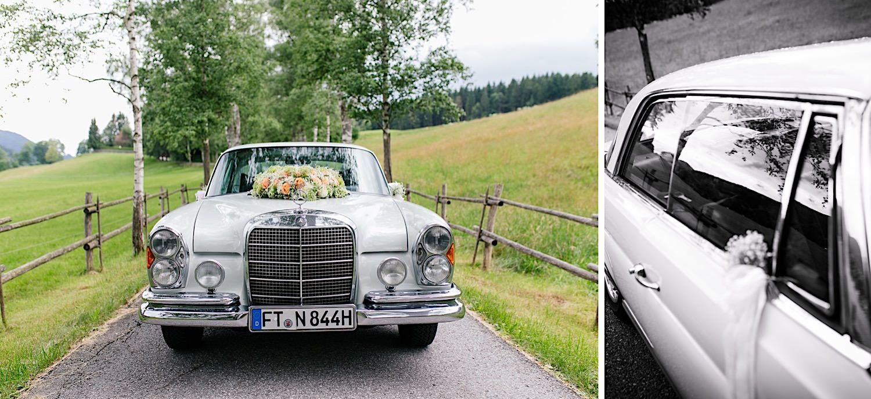 Hochzeitsfotograf miesbach brautauto
