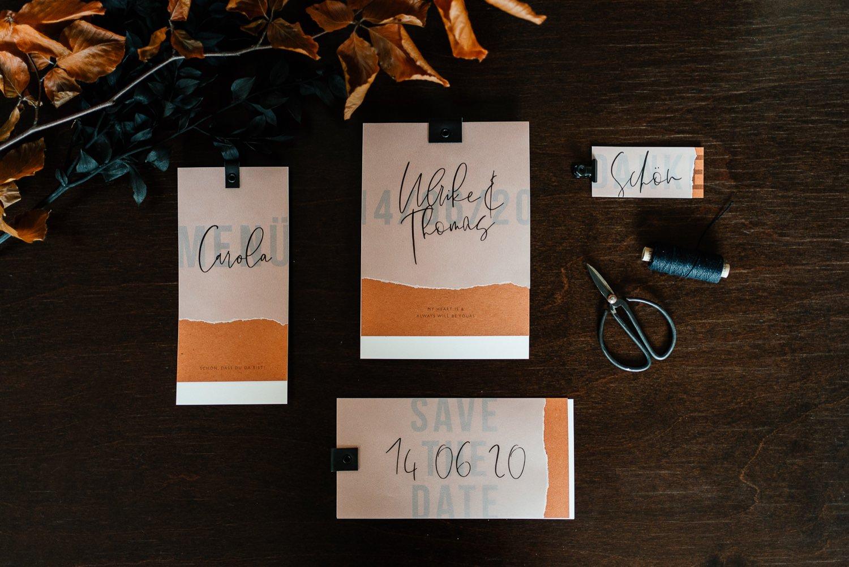 Papeterie für die Hochzeit in Orange