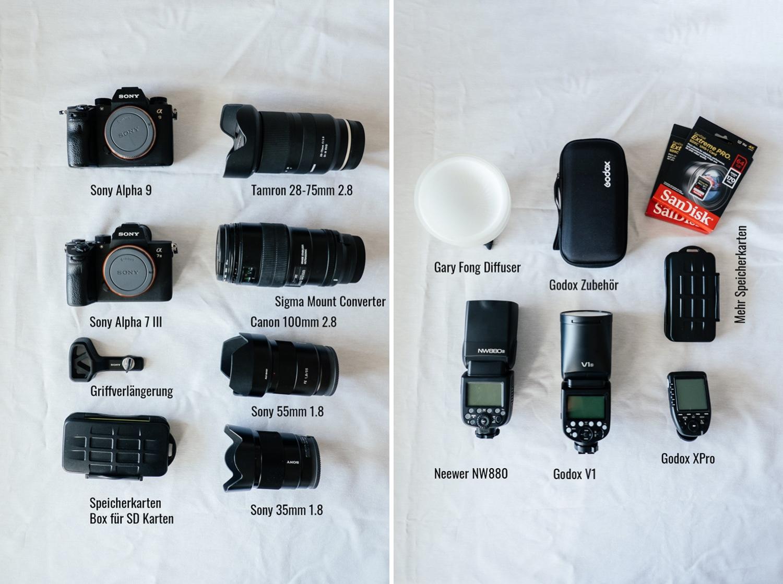 Hochzeitsfotograf-Equipment